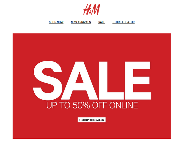 H&M Example of an Effective CTA