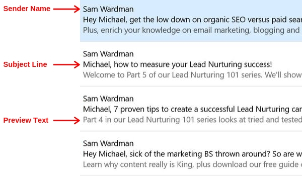 Sender Name, Subject Line, Preview text example image