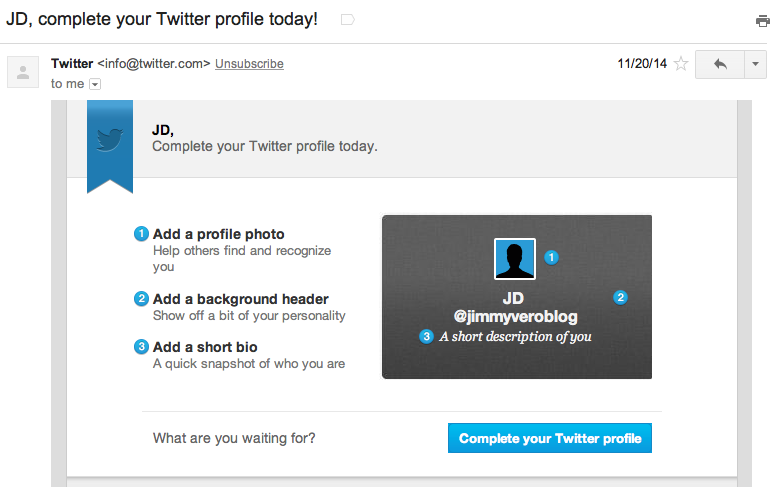 Twitter 1-2-3 Email