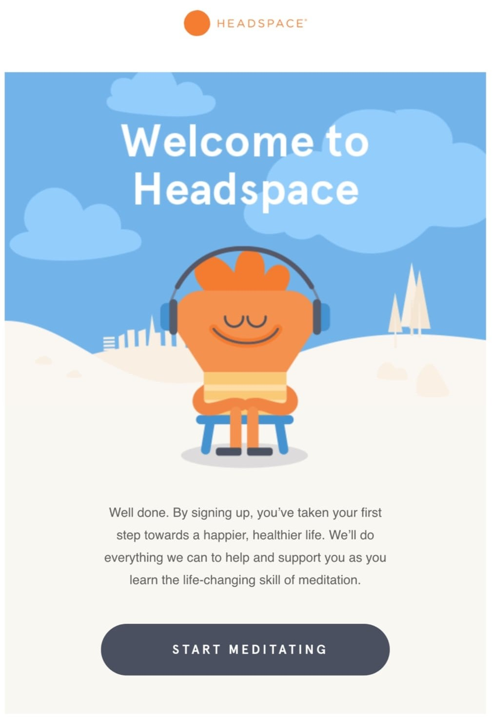 Welcome Email Example: Headspace