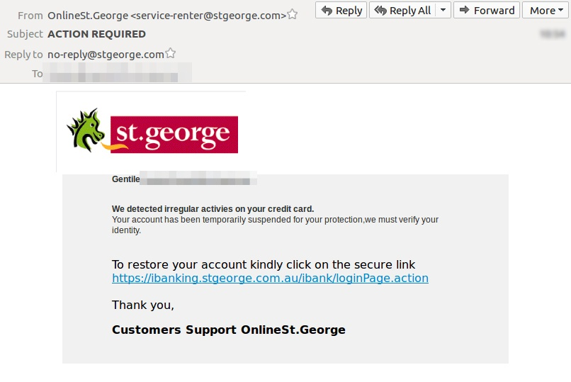 Scam Fake St George Phishing Site Steals Bank Passwords