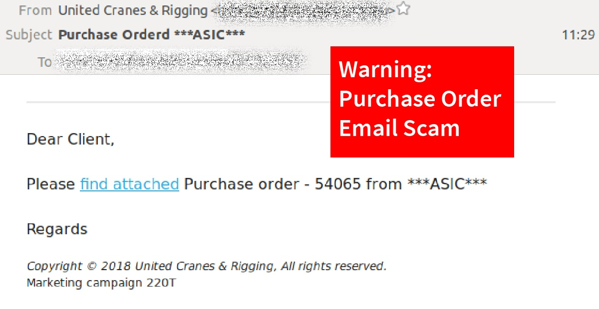 Watch Out: Purchase order email scam links to malicious downloads