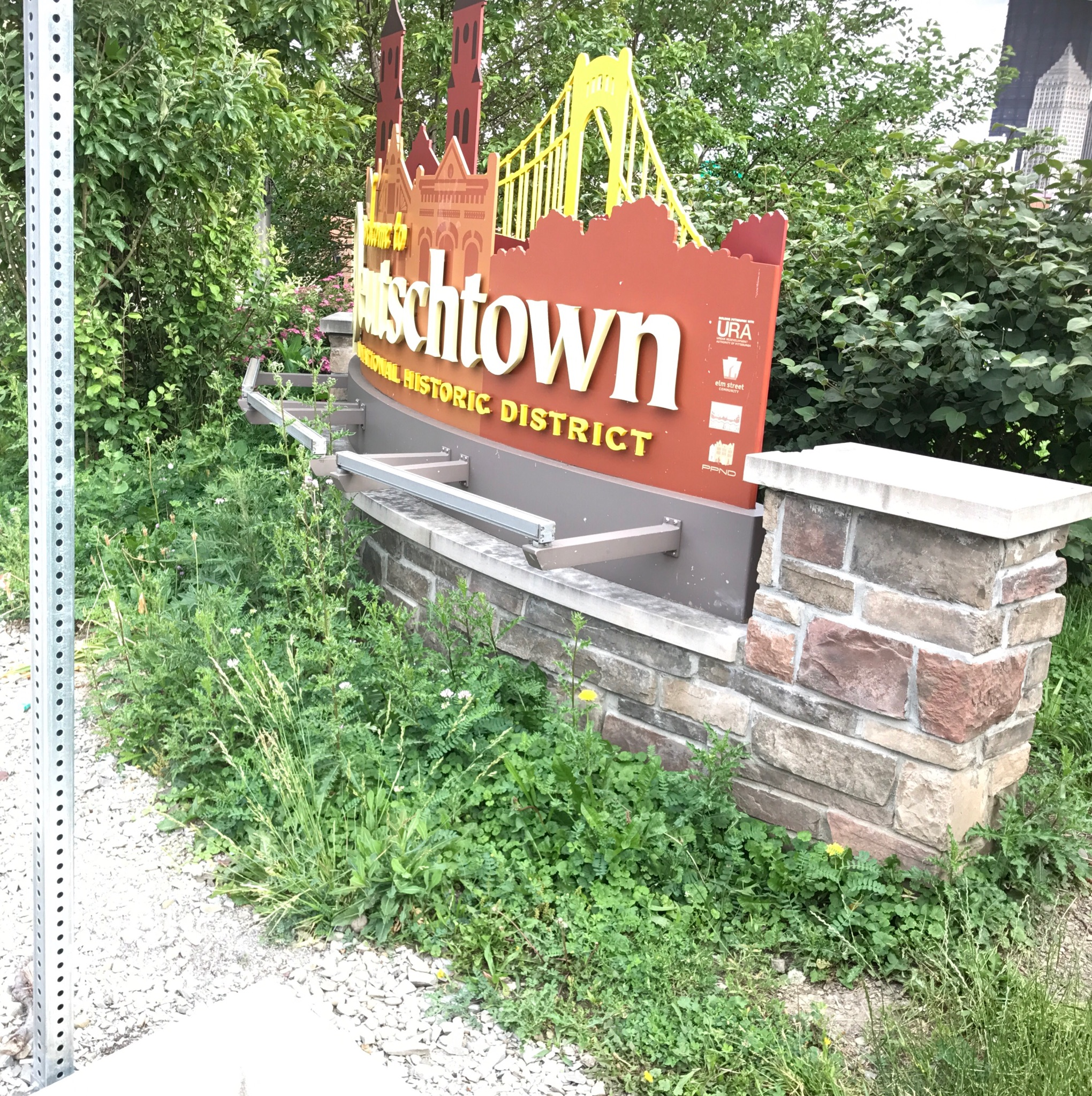 This is the sign at the entrance of Deutschtown, a Pittsburgh neighborhood on the city's North Shore.