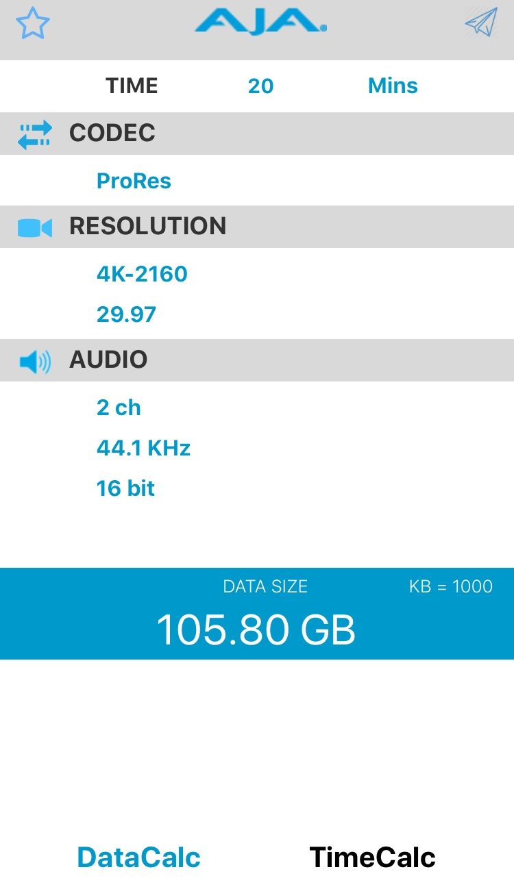 20 minutes of 4K footage file size = 105.80GB
