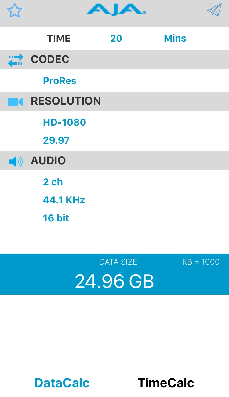 20 minutes of HD footage file size = 24.96GB
