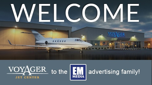 Voyager Jet Center Welcome to the EM Media Family graphic