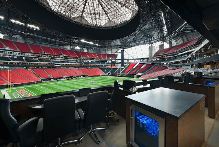 Oldcastle provides unique building solutions for the Mercedes-Benz stadium.);