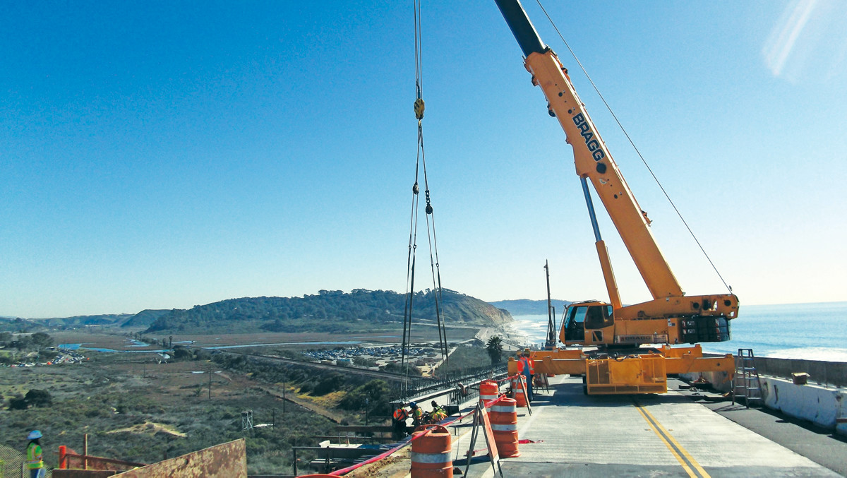 A Crane on the North Torrey Pines Road Bridge);