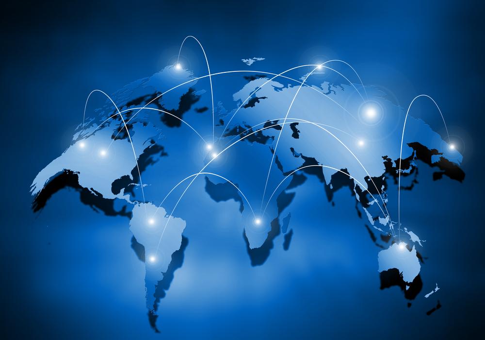 Media blue background image with world map