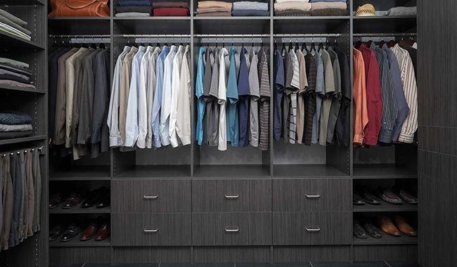 Lovely Walk In Closet With Licorice Finish