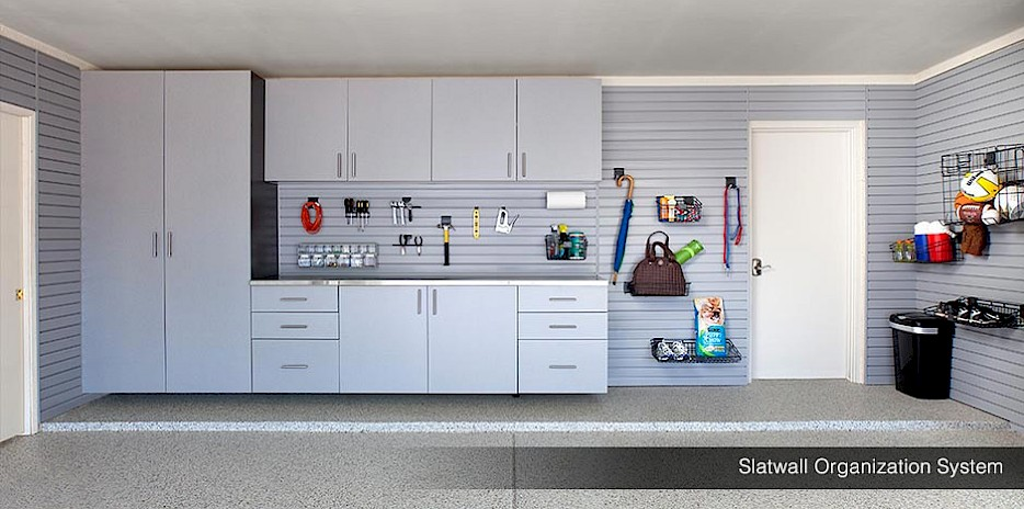 Wall Storage Slatwall Pewter Cabinets