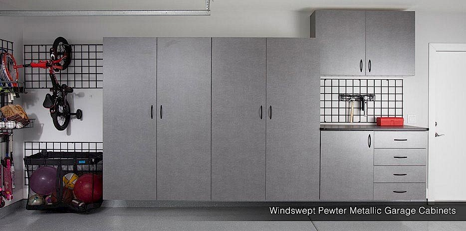 Wall Storage Gridwall Pewter Cabinets System