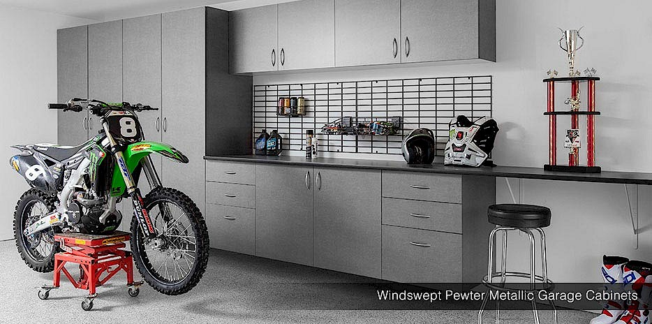 Slatwall System. Wall Storage Gridwall Windswept Pewter Cabinets