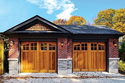 Raynor_Richards Wilcox wood overlay garage doors. Rockwood design.