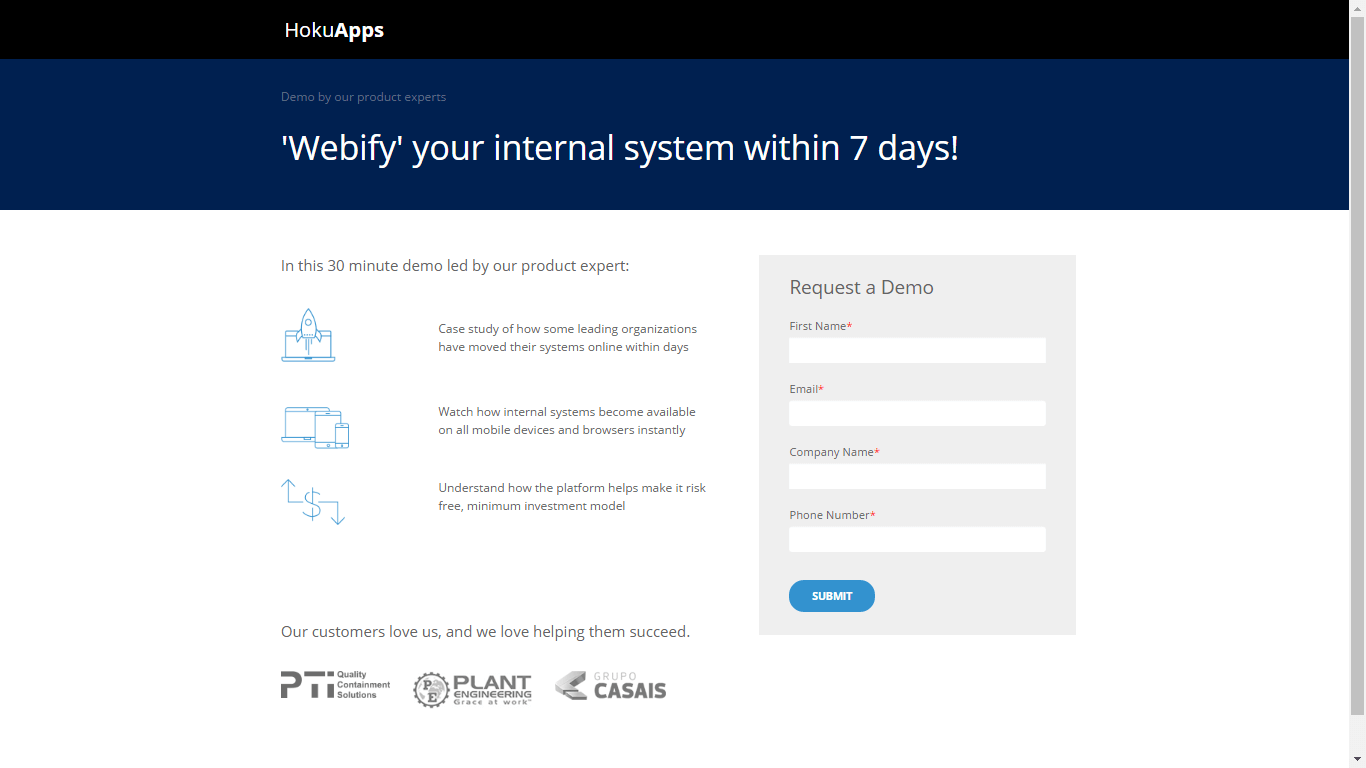 'Webify' your internal system within 7 days!