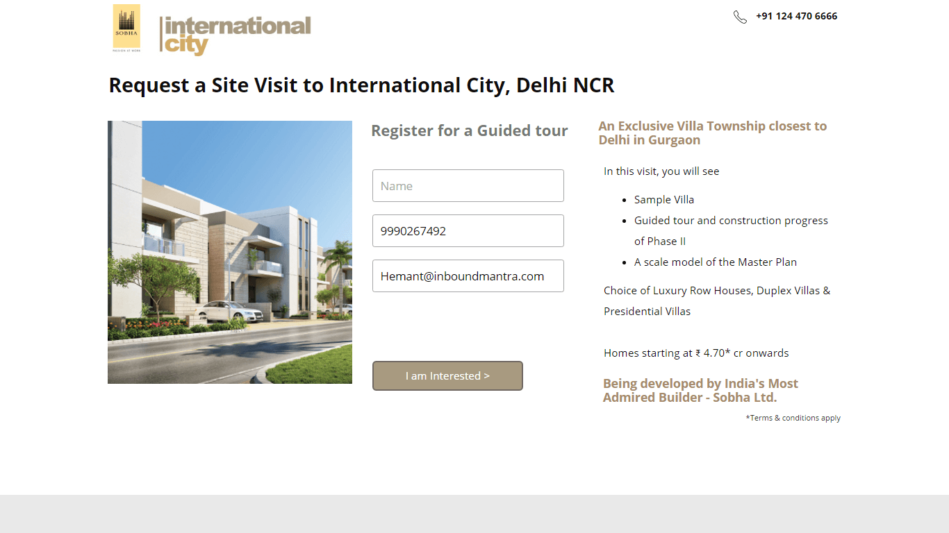 Request Site Visit to Villas in Gurgaon