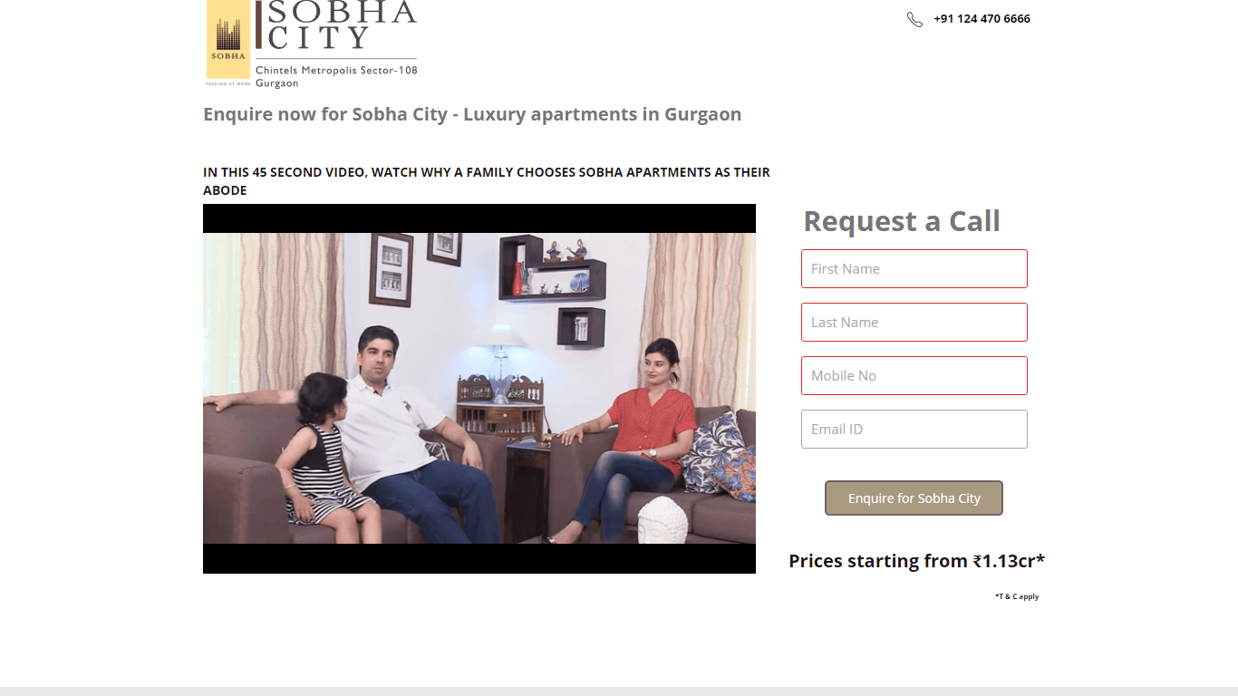 Enquire for Luxury Apartments in Gurgaon by Sobha