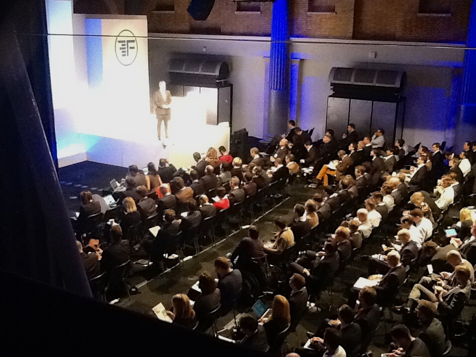 On stage at Finovate fintech conference
