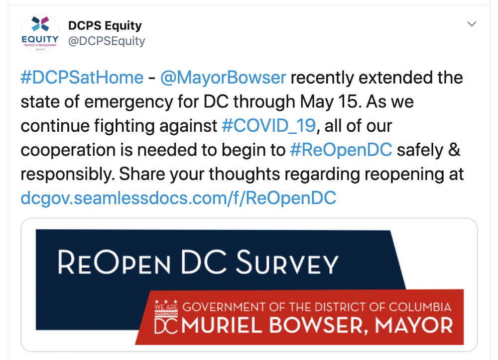 A tweet from the Mayor of Washington DC encouraging citizens to fill out a form hosted on Kofile.