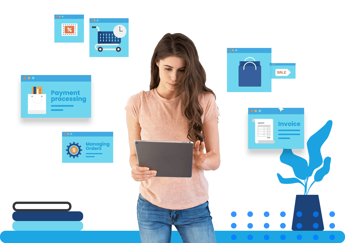 Woman working on a tablet with retail-centric pop-ups for cart expirations, payment processing, managing orders, and invoicing behind her