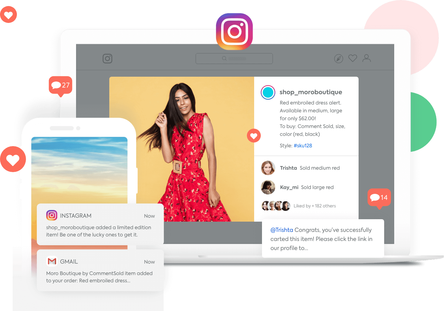Instagram post selling a dress with comment purchases and notifications from Instagram and email
