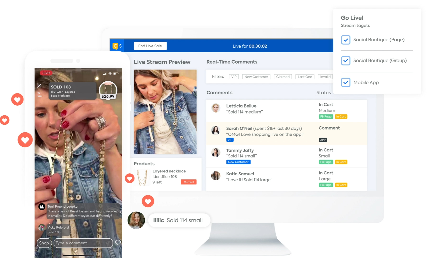 CommentSold dashboard with Talent View and multiple live stream targets selected