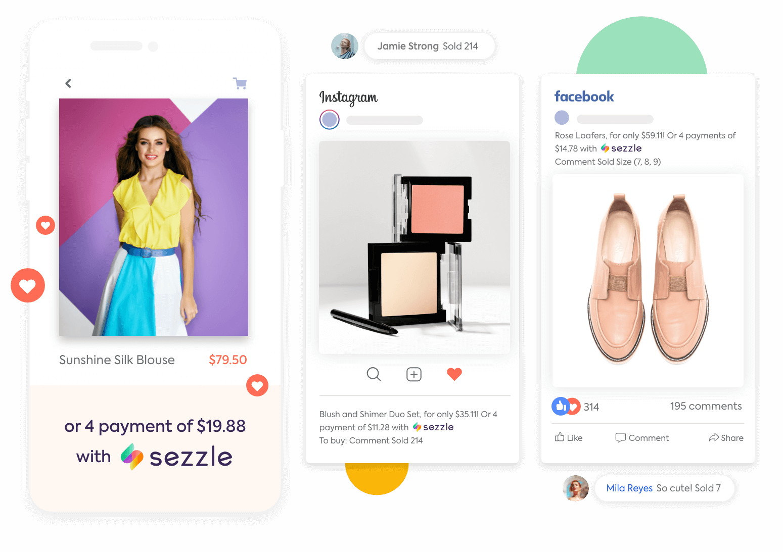 A product with Buy Now Pay Later option offered through Sezzle next to Facebook and Instagram posts selling products with comment purchases