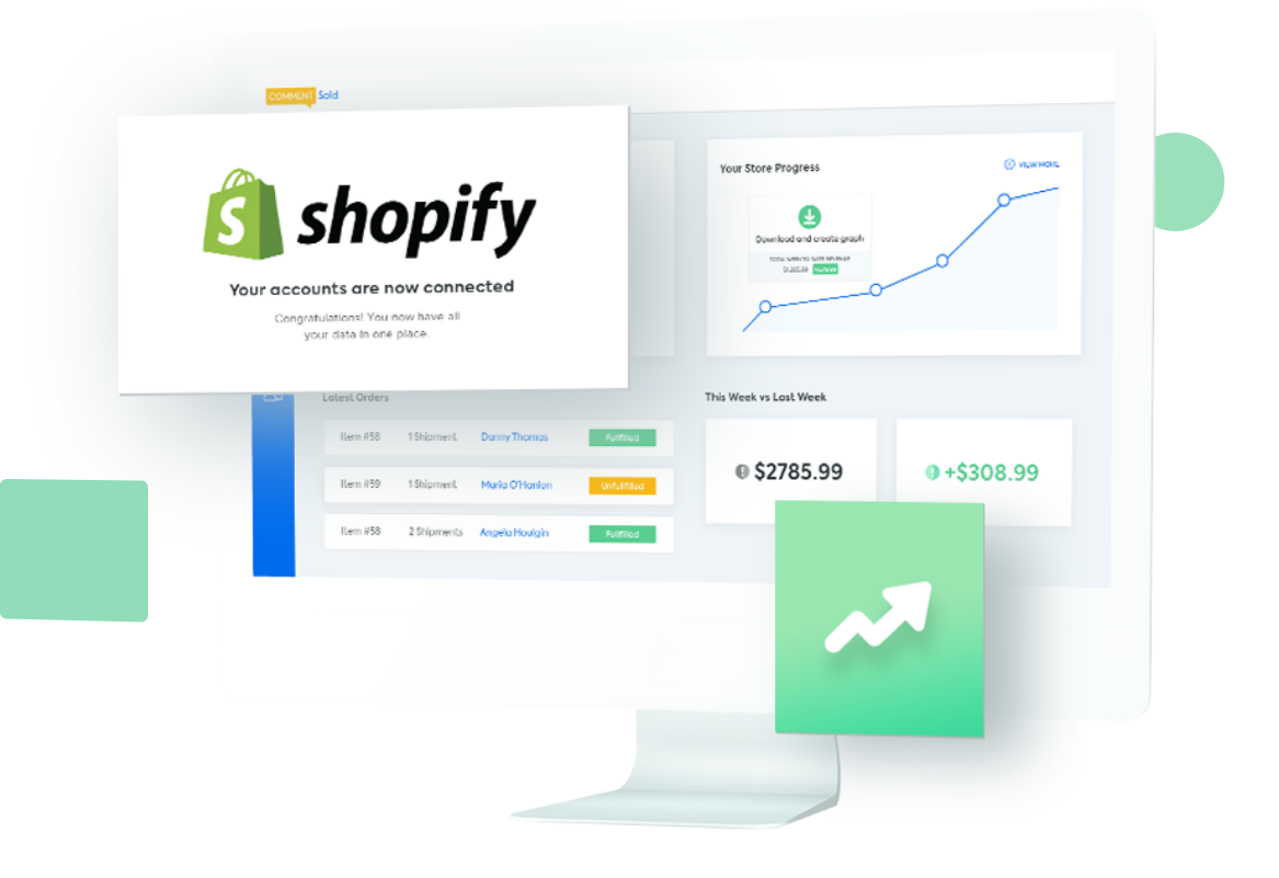 A graphic showing Shopify entering the CommentSold dashboard