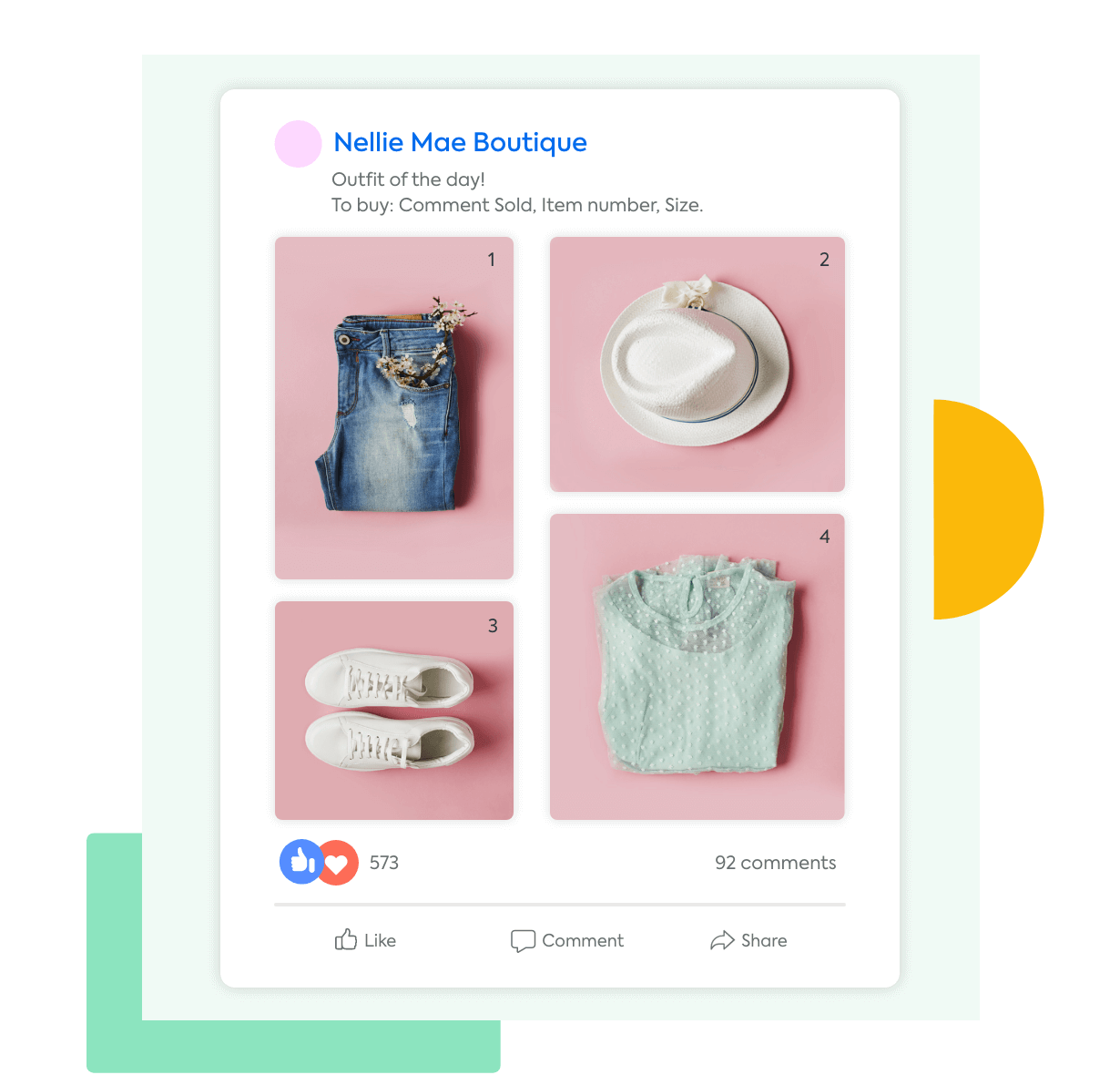 A Facebook post with a collage of women's clothing available for purchase