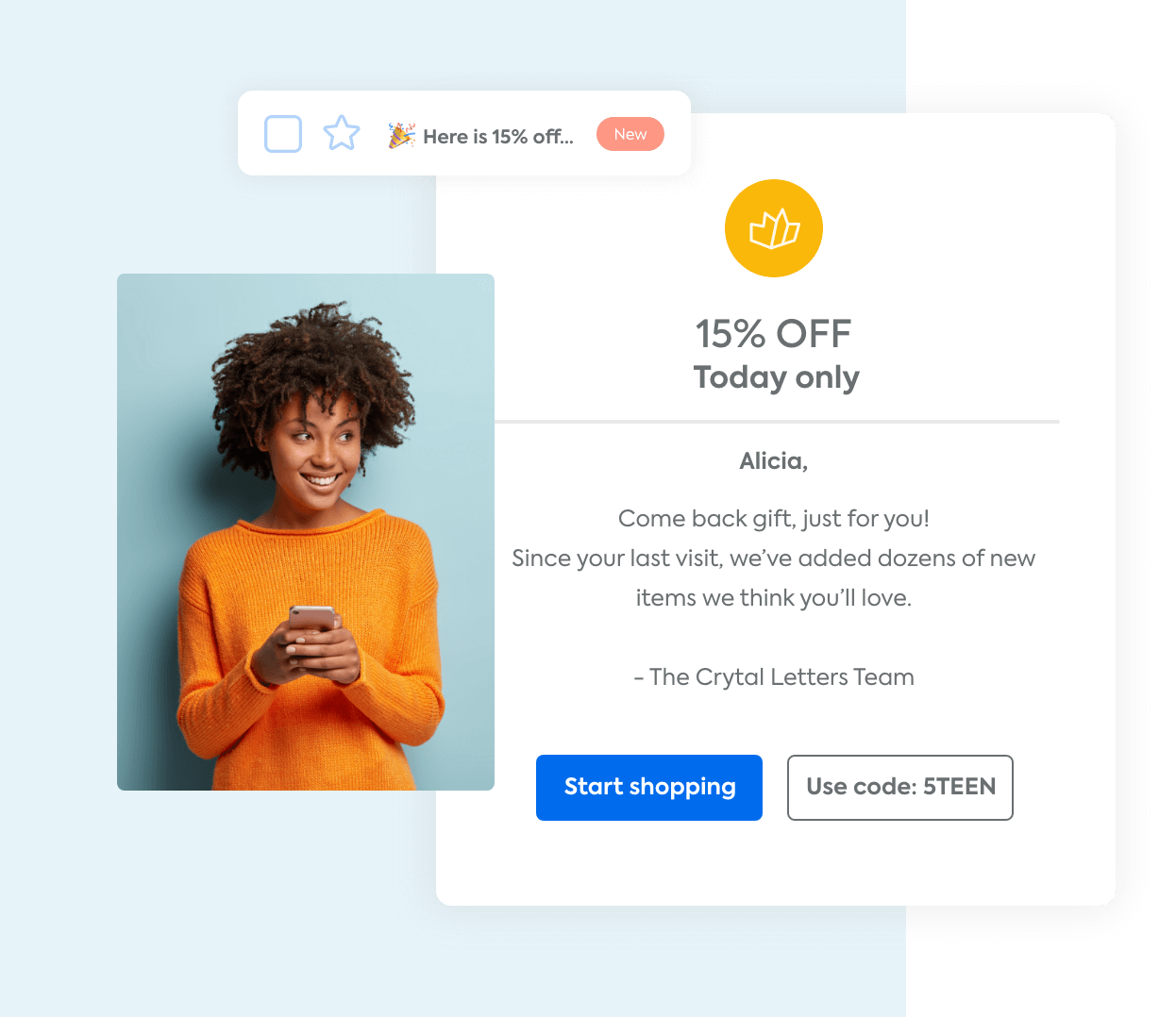 An automated marketing email offering a discount to a shopper that hasn't made a purchase lately and a woman holding her phone