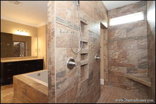 Shower and a tub or just a shower orange county home for Walk through shower plans