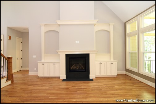 of Built In Bookshelves Around Fireplace | Raleigh New Homes