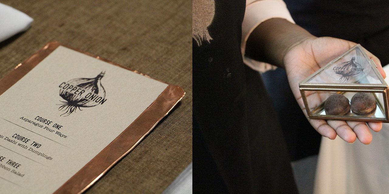 Close ups of design details for Copper Onion