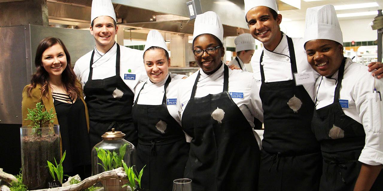 Design student Briana Ferraioli and students from Chef Delle Donne's Conscious Cuisine class