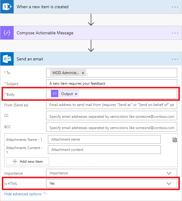 Custom Actionable Messages with Microsoft Flow - part 1