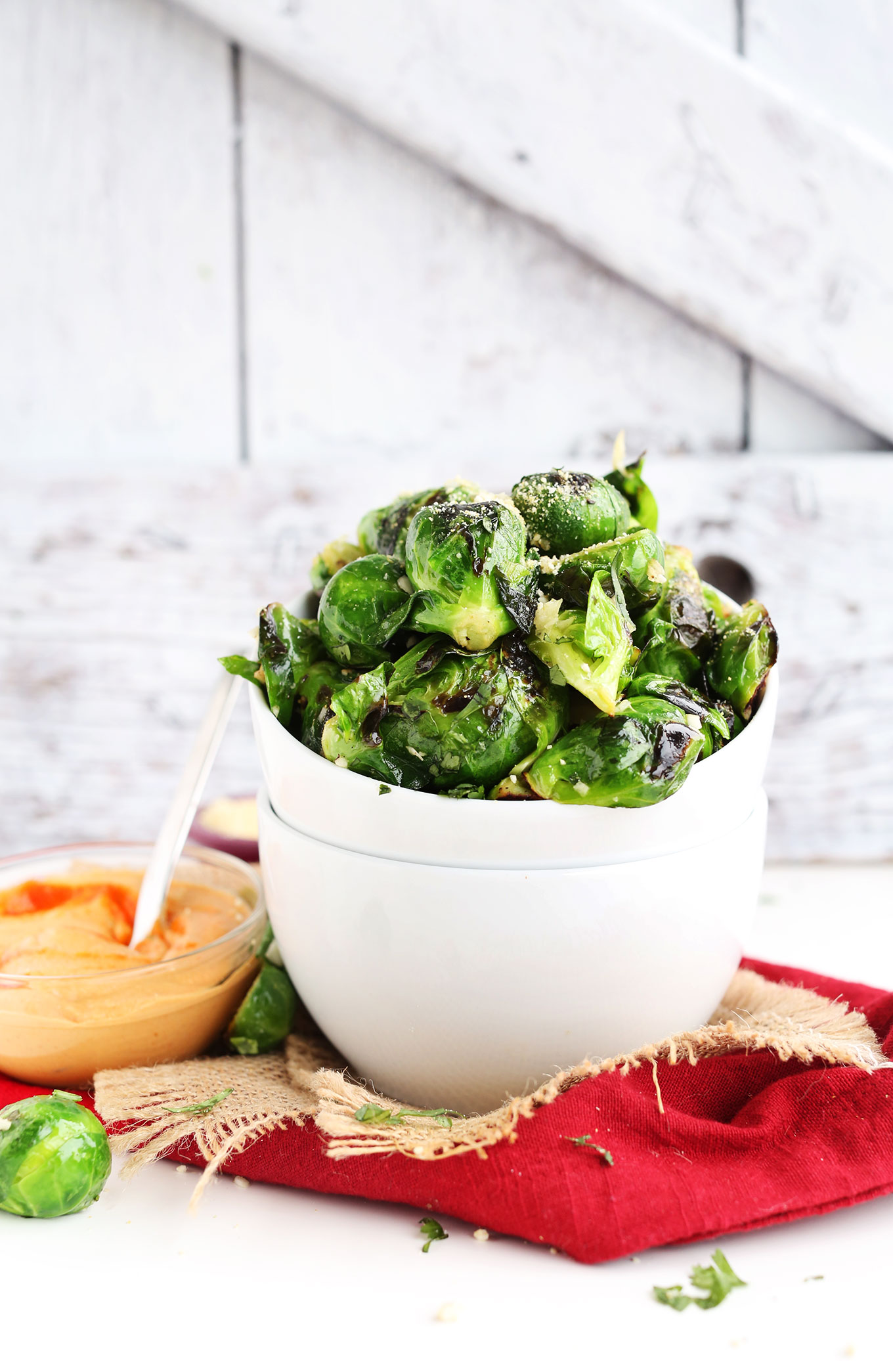Crispy-Roasted-Brussels-Sprouts-with-spicy-Sriracha-Aioli-The-perfect-healthier-appetizer-or-side-dish-vegan-glutenfree-healthy-appetizer