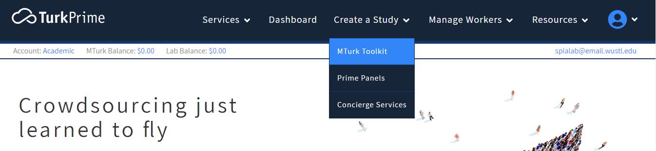 TurkPrime's Create a Study navigation menu