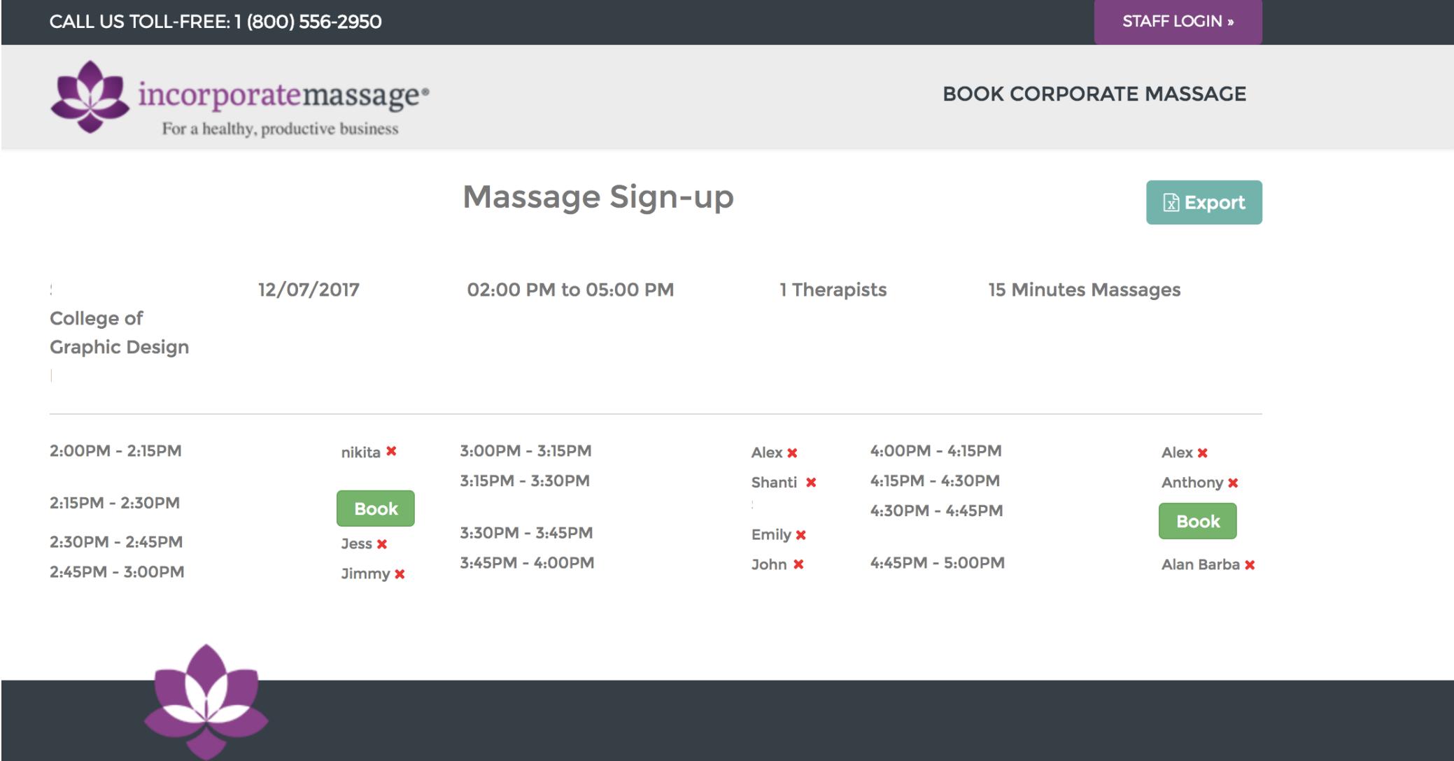 massage event scheduling