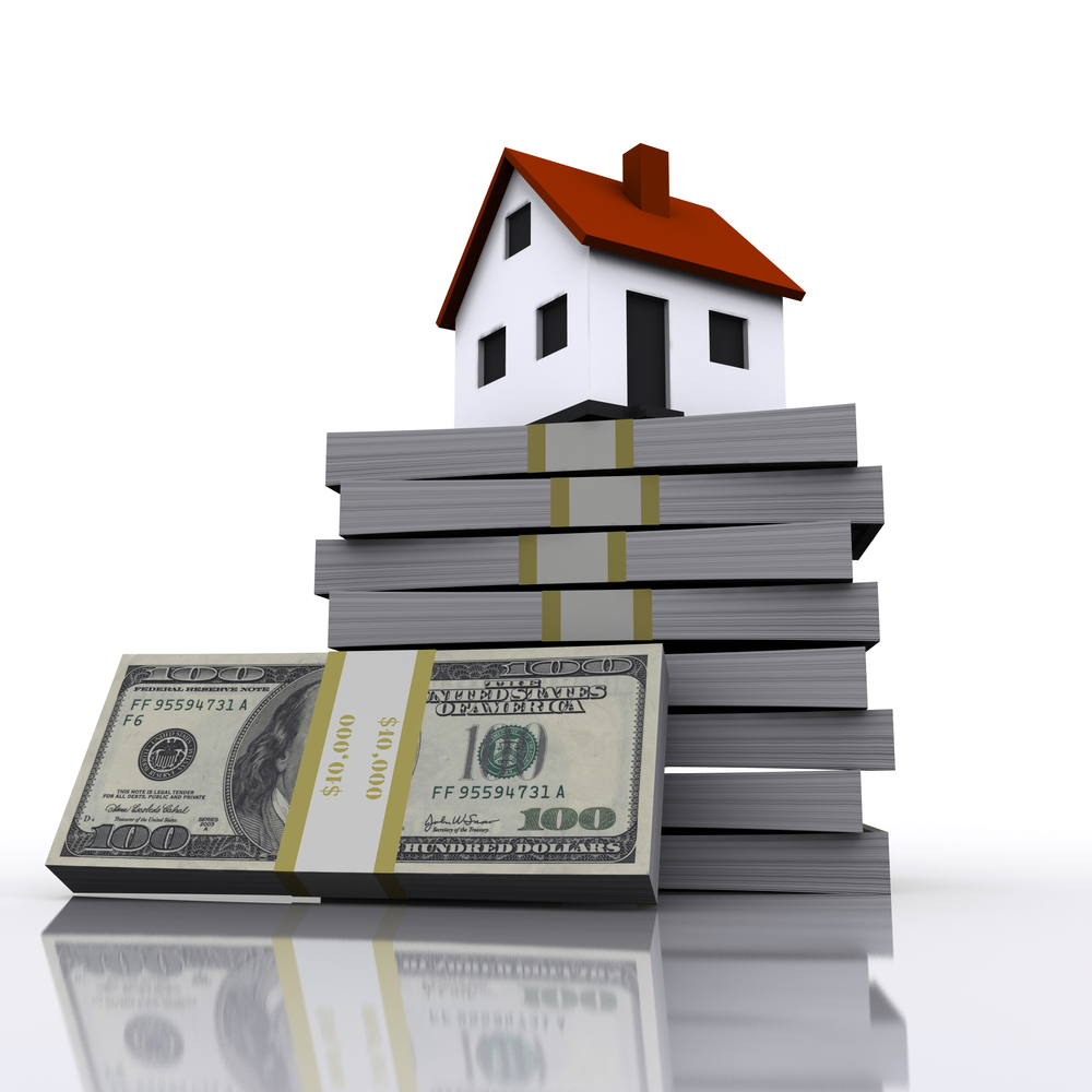 A small cottage and a three-dimensional stack of hundred-dollar bills. symbol of a successful real estate business-1