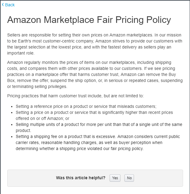 Amazon Fair Pricing Policy states that sellers are responsible for setting their own prices on Amazon marketplaces.