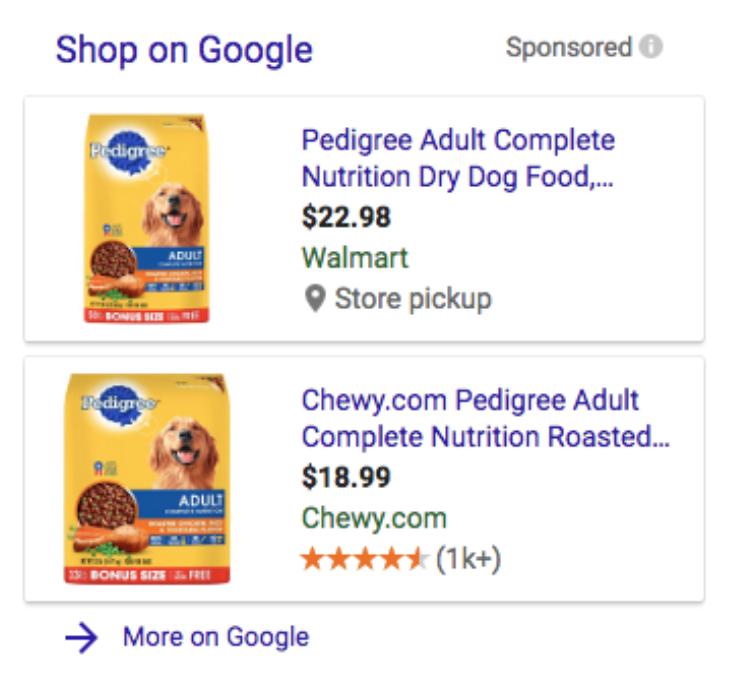 google shopping examples