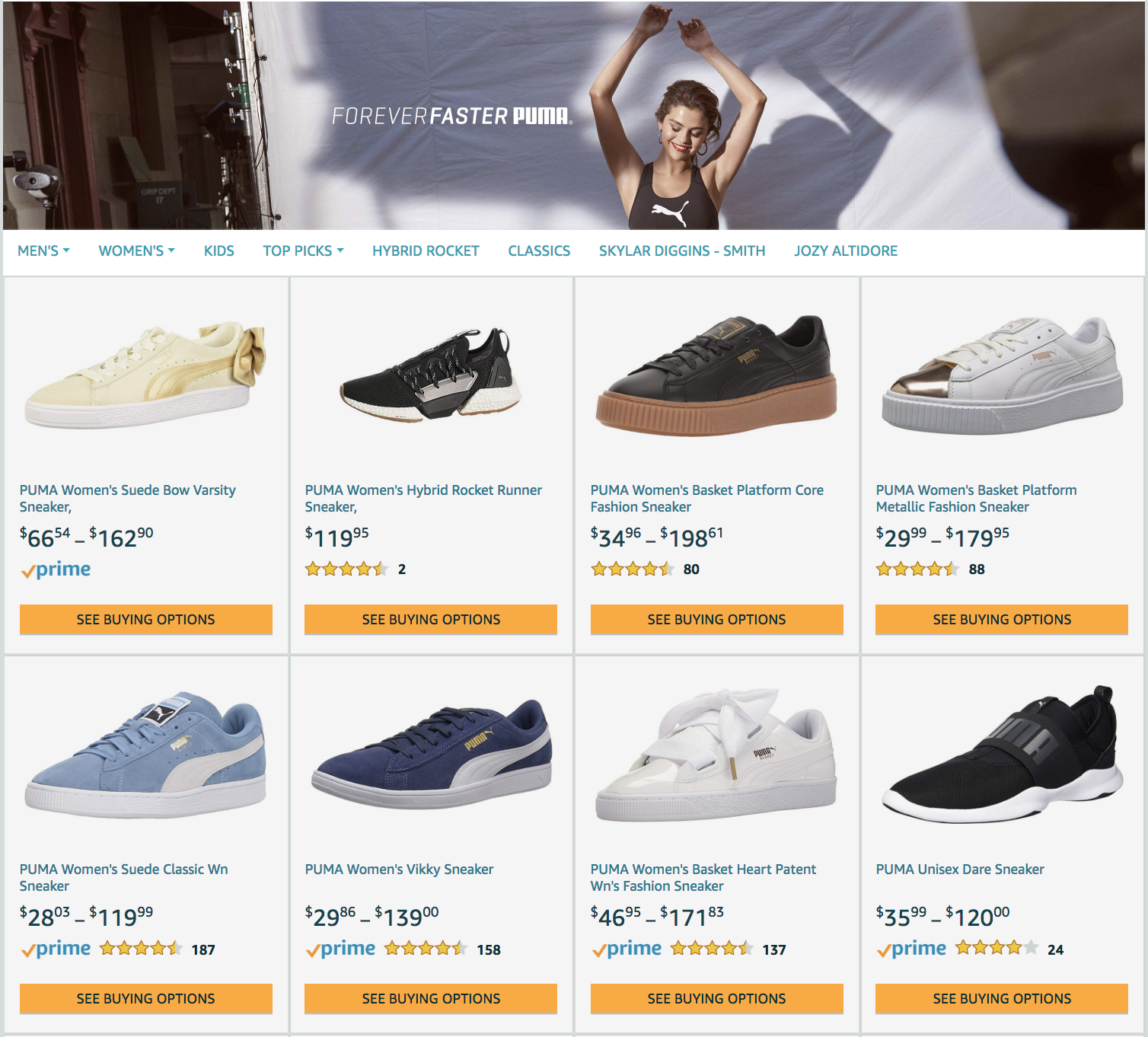 amazon product grid puma example