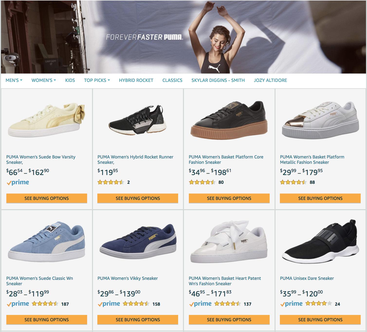 amazon product grid puma example