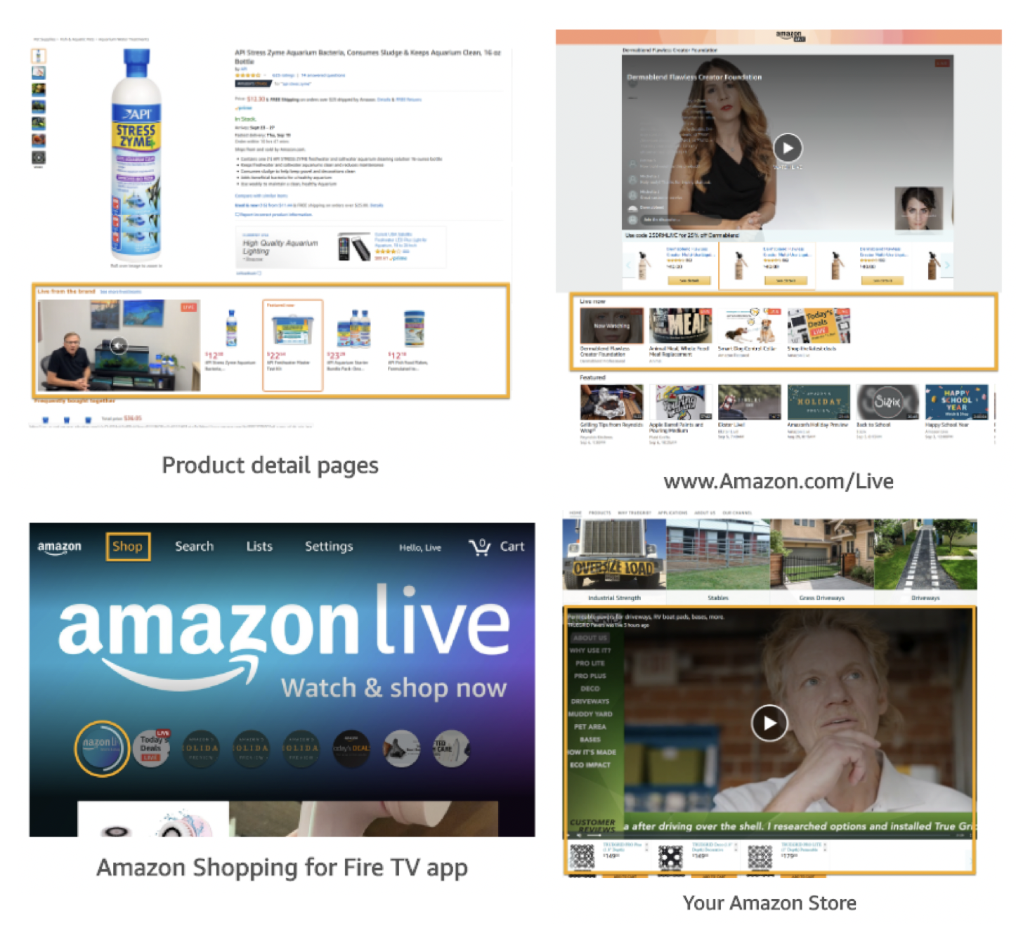 Amazon Livestreams can be found on product detail pages, the Amazon Live URL, Amazon Shopping for Fire TV app, and your Amazon Store.