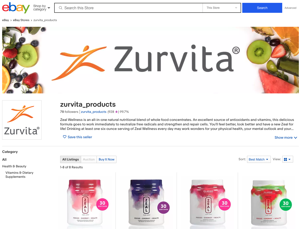 Zurvita's customized eBay storefront helps enhance their brand thanks to Pattern's eBay and content experts.