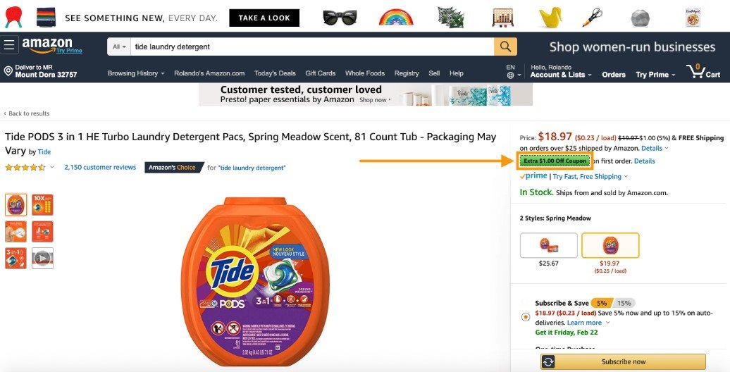 Amazon Coupons appear green for Amazon Prime users.