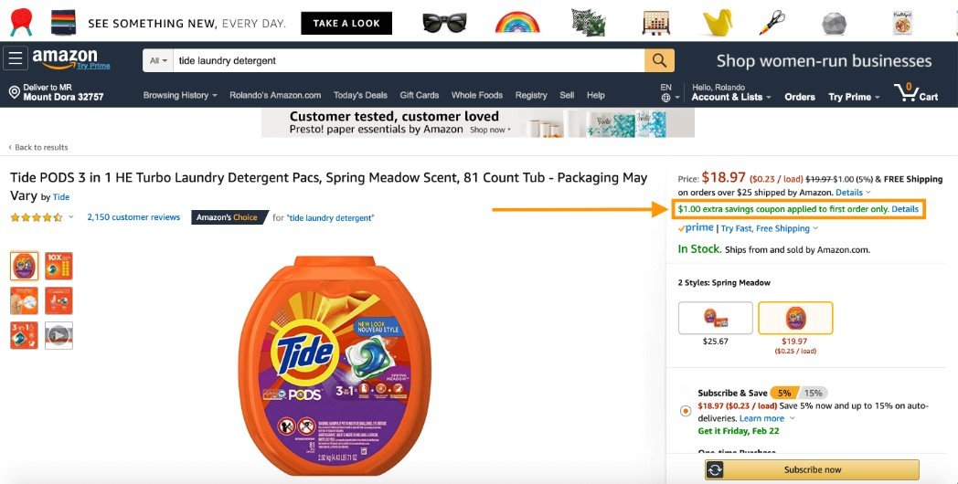 Amazon Coupons appear in green text for non-Amazon Prime users.