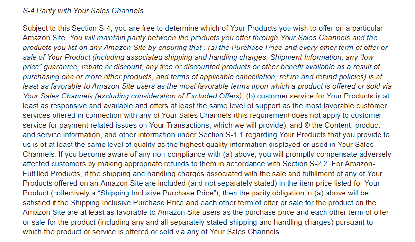 Amazon's Price Parity S-4 Seller Term Has Changed, removing this S-4 clause that stated how Amazon required sellers to offer their products at price parity to other retailers.