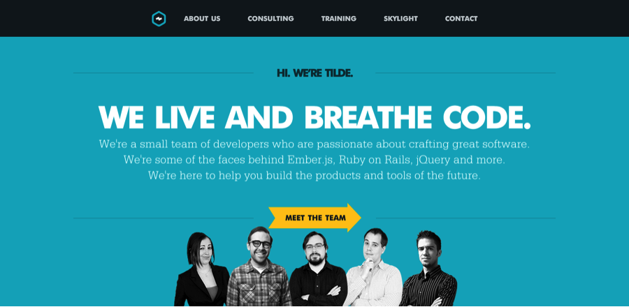 Tilde website with well-designed headings