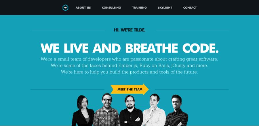 Trang web Tilde với tiêu đề được thiết kế tốt